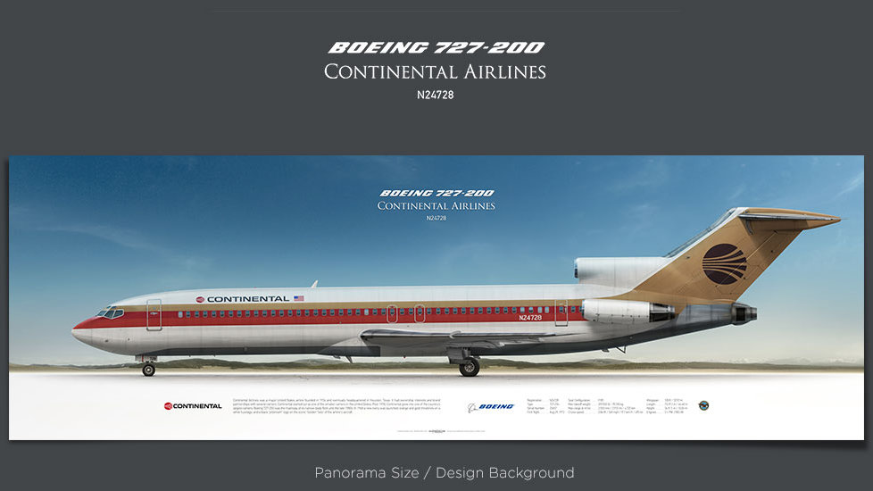 Boeing 727-200 Continental Airlines, plane prints, retired pilot gift, aviation posters, airliners prints, vintage aircraft