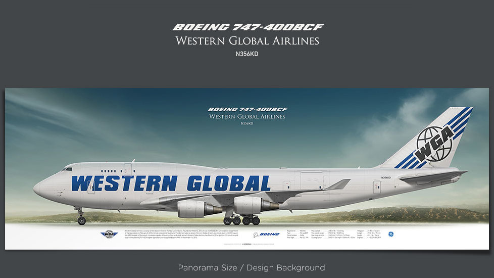 Boeing 747-400 BCF Western Global Airlines, plane prints, retired pilot gift, aviation posters, airliners prints, cargo plane