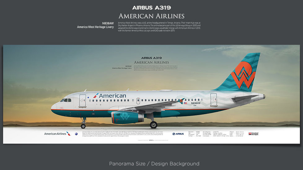 Airbus A319 American Airlines, plane prints, retired pilot gift, aviation posters, airliners prints, America West livery