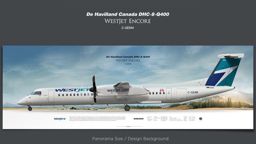 De Havilland Canada DHC-8-Q400 Dash 8 WestJet Encore, bombardier, plane prints, retired pilot gift, aviation posters, WEN