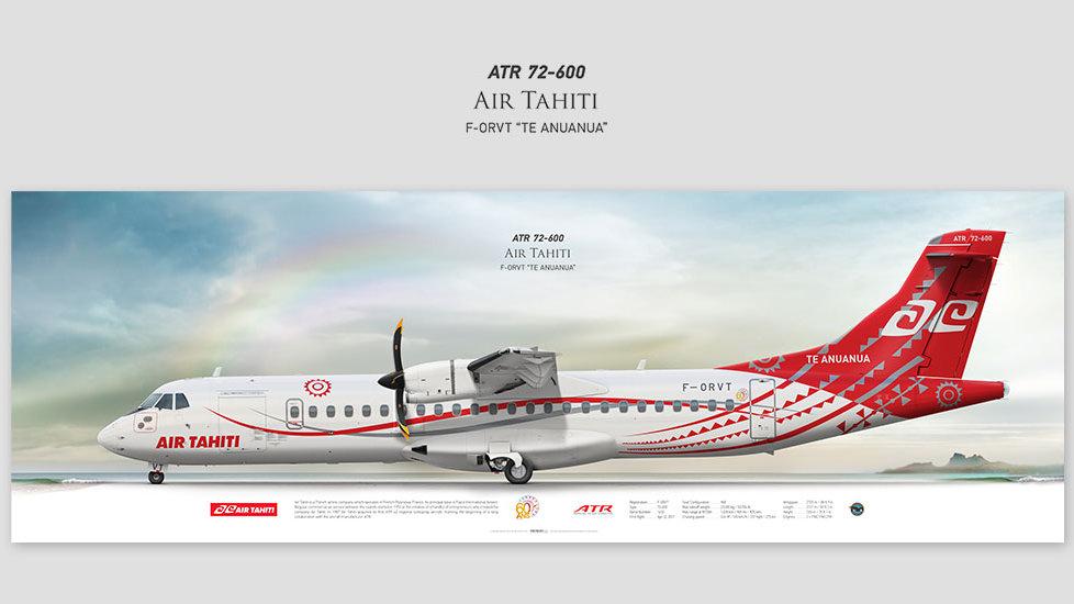 ATR 72-600 Air Tahiti, posterjetavia, profile prints, gift for pilots, aviation, airplane picture, airline