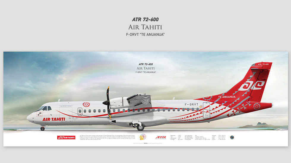 ATR 72-600 Air Tahiti, posterjetavia, profile prints, gift for pilots, aviation, airplane picture, airline