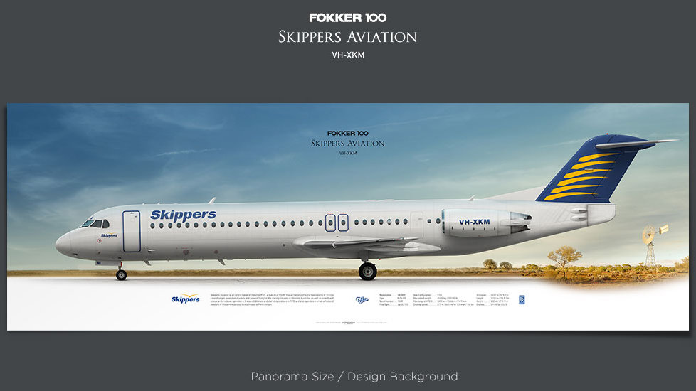 Fokker 100 Skippers Aviation, plane prints, retired pilot gift, aviation posters, airliners prints, regional aircraft, ttail