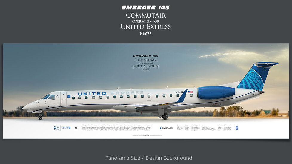 Embraer 145XR CommutAir, United Express, plane prints, retired pilot gift, aviation posters, airliners prints, regional jet