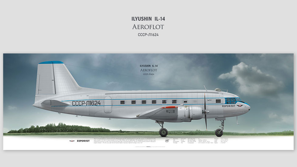 Ilyushin Il-14 Aeroflot, posterjetavia, gifts for pilots, aviation, aviation art , avgeek, airplane pictures, soviet airlines