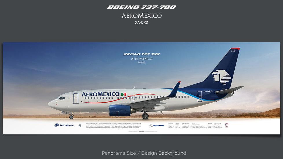 Boeing 737-700 Aeroméxico, plane prints, retired pilot gift, aviation posters, airliners prints, plane image, AMX, jetliner