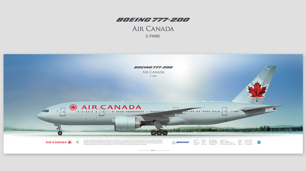 Boeing 777-200LR Air Canada, posterjetavia, profile prints, gift for pilots, aviation, B777