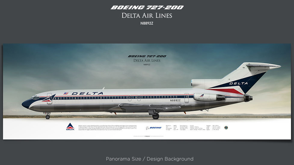 Boeing 727-200 Delta Air Lines, plane prints, retired pilot gift, aviation posters, airliners prints, ttail, vintage aircraft