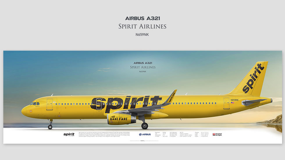 Airbus A321 Spirit Airlines, posterjetavia, profile prints, gift for pilots, aviation, N659NK