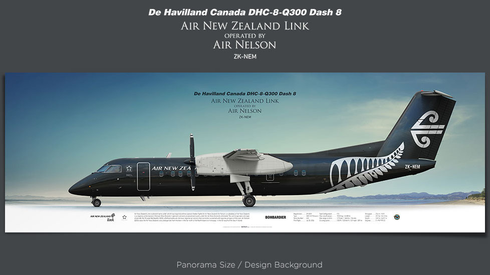 De Havilland Canada DHC-8-Q300 Air New Zealand opb Air Nelson, retired pilot gift, aviation posters, airliners prints