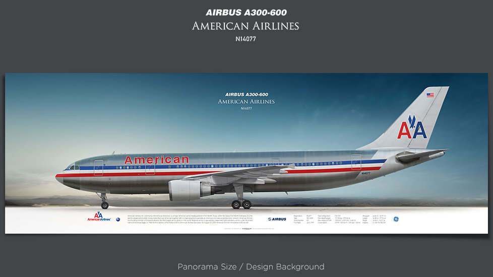 Airbus A300-600 American Airlines, plane prints, retired pilot gift, aviation posters, airliners prints, vintage aircraft