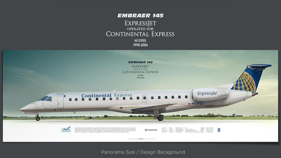 Embraer 145 ExpressJet, Continental Express, plane prints, retired pilot gift, aviation posters, ttail, regional jet, ASQ