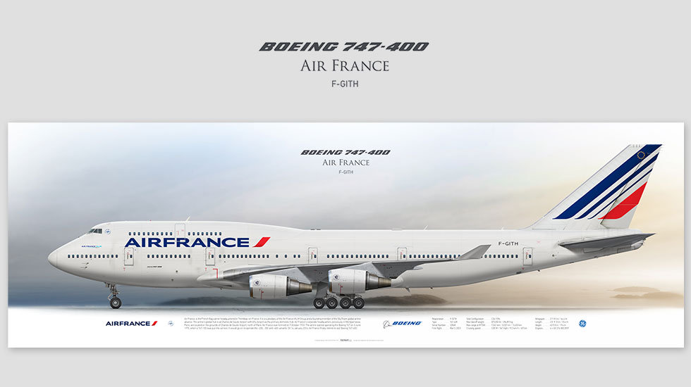 Boeing 747-400 Air France, posterjetavia, airliners profile prints, aviation collectibles prints