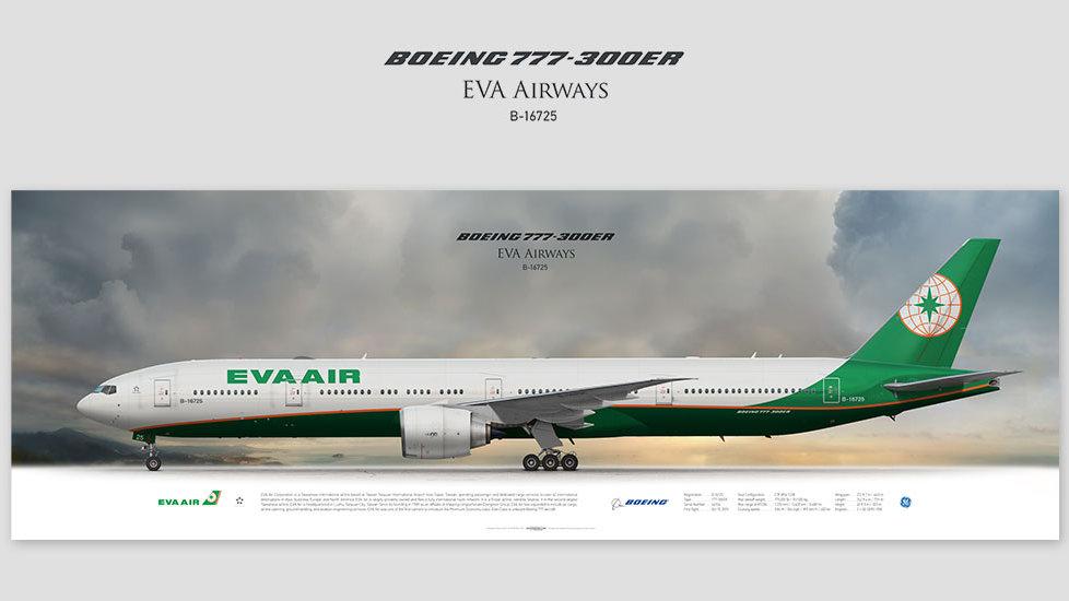 Boeing 777-300ER EVA Air, gift for pilots, aviation prints, avia poster, aircraft profile art prints, aircraft illustration