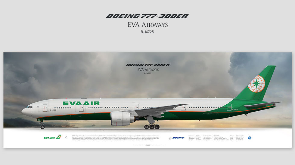 Boeing 777-300ER EVA Air, gift for pilots, aviation prints, avia poster, aircraft profile art prints, aircraft illustration