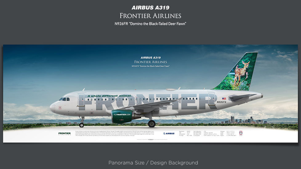 Airbus A319 Frontier Airlines, plane prints, retired pilot gift, aviation posters, airliners prints, airliner profiles