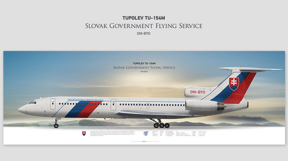 Tupolev Tu-154M Slovak Government, posterjetavia, gifts for pilots, aviation, airplane picture, avgeek, profile prints