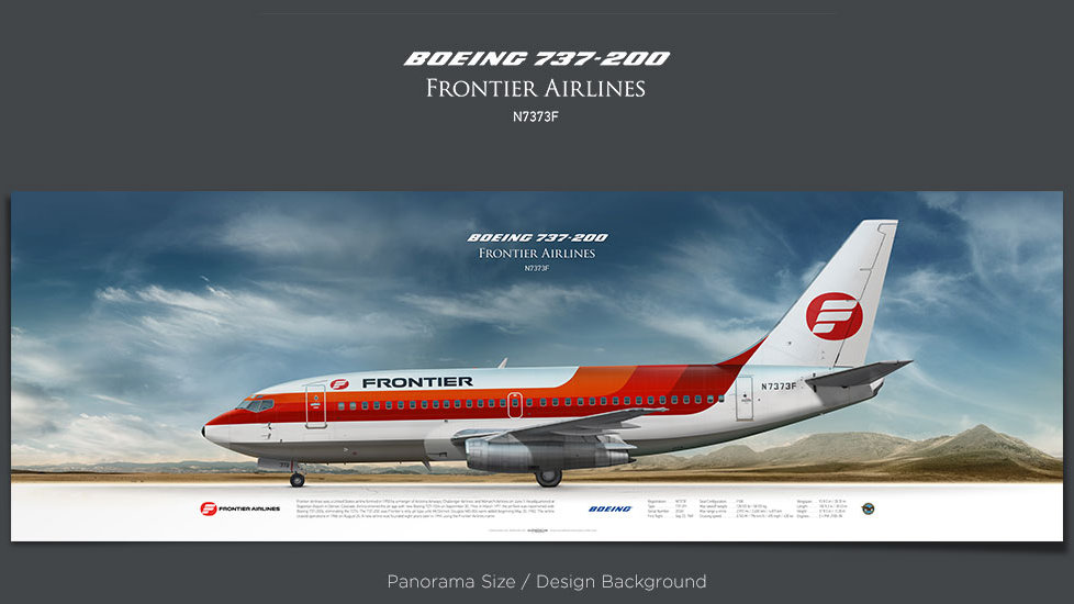 Boeing 737-200 Frontier Airlines, plane prints, retired pilot gift, aviation posters, jetliner prints, vintage aircraft, FFT