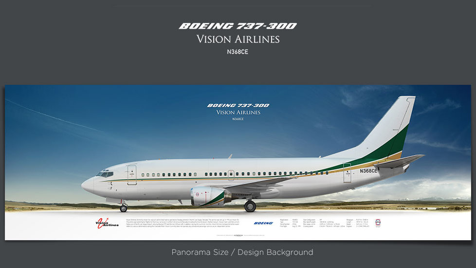 Boeing 737-300 Vision Airlines, plane prints, retired pilot gift, aviation posters for sale, boeing poster, aircraft prints