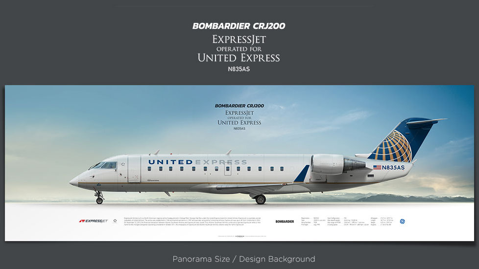Bombardier CRJ200 ExpressJet, United Express, plane prints, retired pilot gift, aviation posters, airliners prints, ASQ