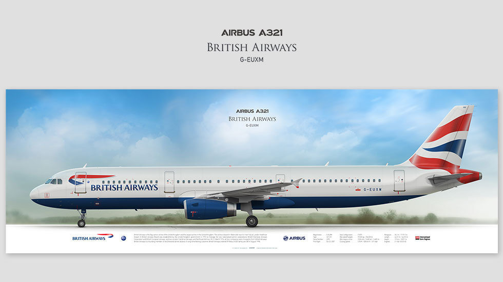 Airbus A321 British Airways, posterjetavia, airliners profile prints, gift for pilots