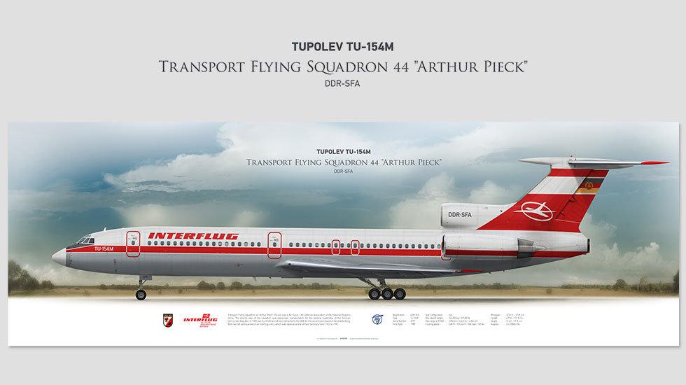 Tupolev Tu-154 Inerflug, posterjetavia, airliners profile prints, aviation collectibles prints
