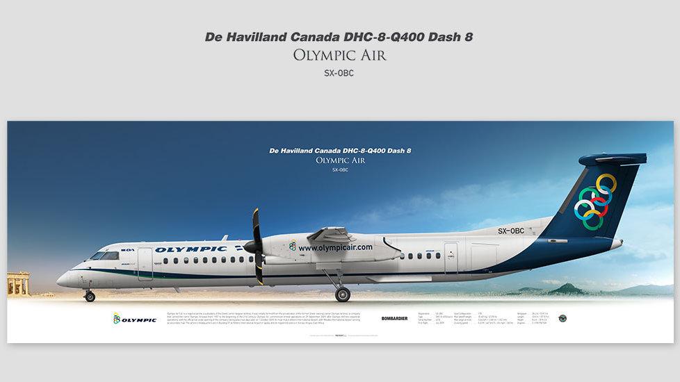 DHC-8-Q400 Dash 8 Olympic Air, posterjetavia, gifts for pilots, aviation, aviation art , avgeek, aegeanair