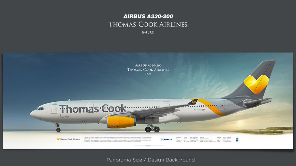 Airbus A330-200 Thomas Cook Airlines, plane prints, retired pilot gift, aviation posters, airliners prints, jetliner, TCX