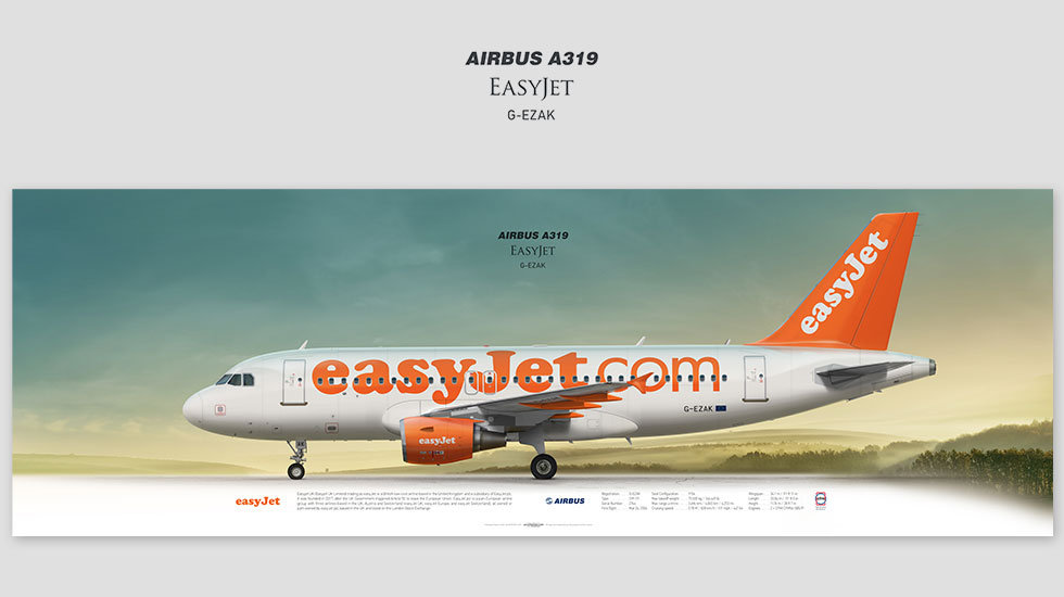 Airbus A319 Easyjet, gift for pilots, aviation art prints, aircraft print, custom posters, plane picture