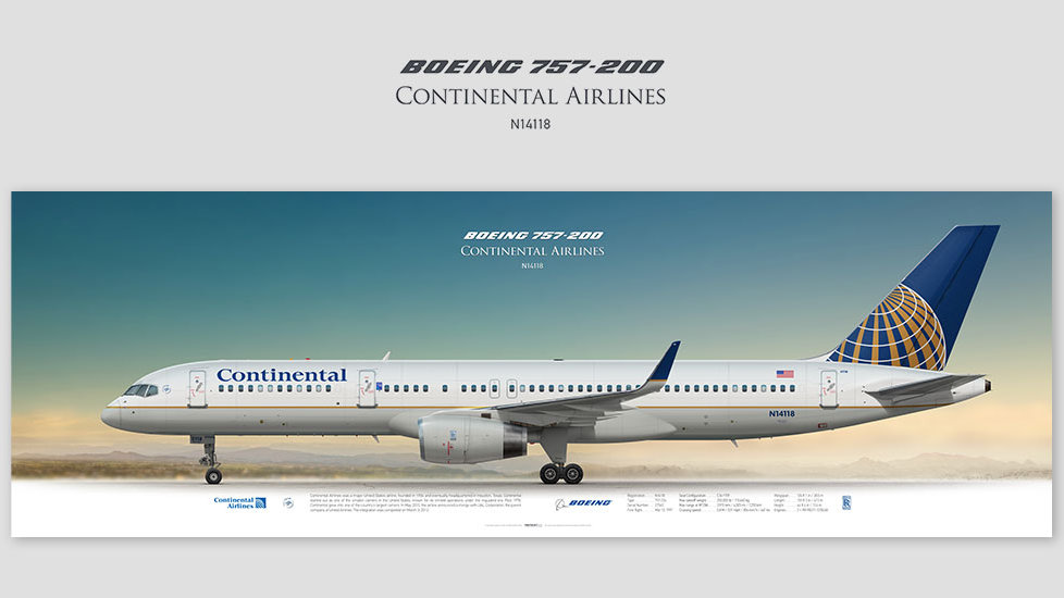 Boeing 757-200 Continental Airlines, posterjetavia, gifts for pilots, aviation, aviation art , avgeek, airplane pictures