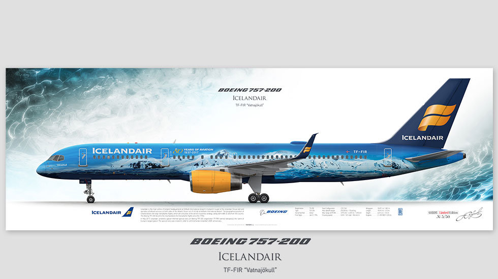 Boeing 757-200 Icelandair, posterjetavia, airliners profile prints, aviation collectibles prints