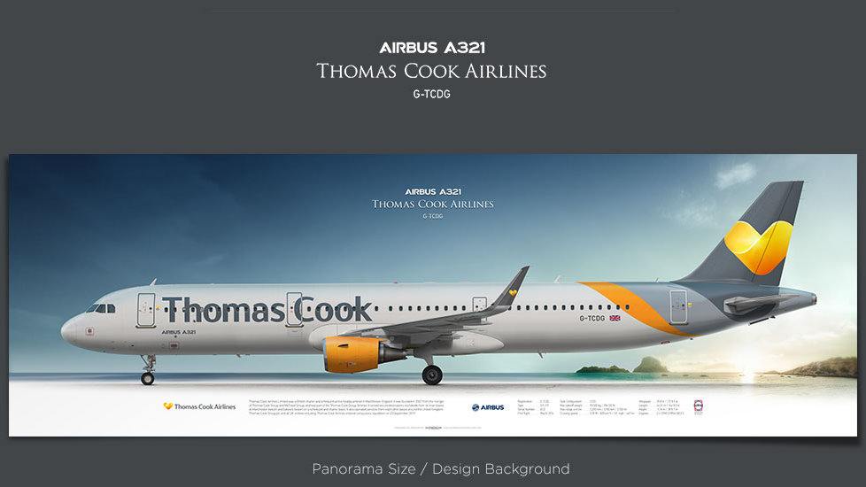 Airbus A321 Thomas Cook Airlines, plane prints, retired pilot gift, aviation posters, airliners prints, civil aircraft, TCX