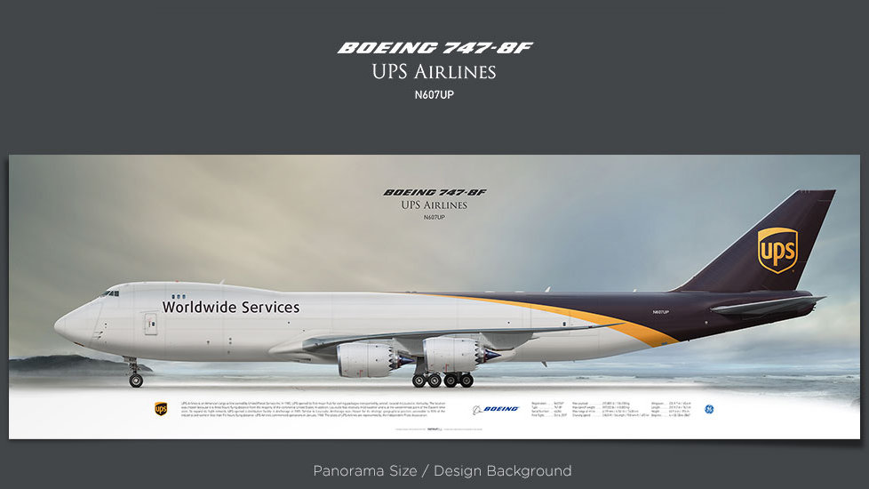 Boeing 747-8f UPS Airlines, plane prints, retired pilot gift, aviation posters, airliners prints, cargo plane, jumbo jet, UPS