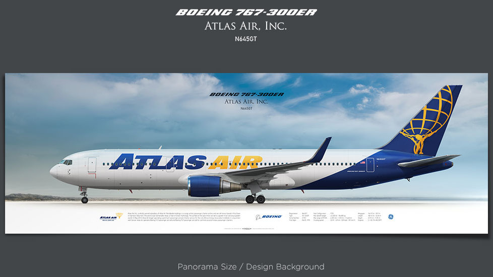 Boeing 767-300ER Atlas Air, plane prints, retired pilot gift, aviation posters, airliners prints, jetliner, aircraft print
