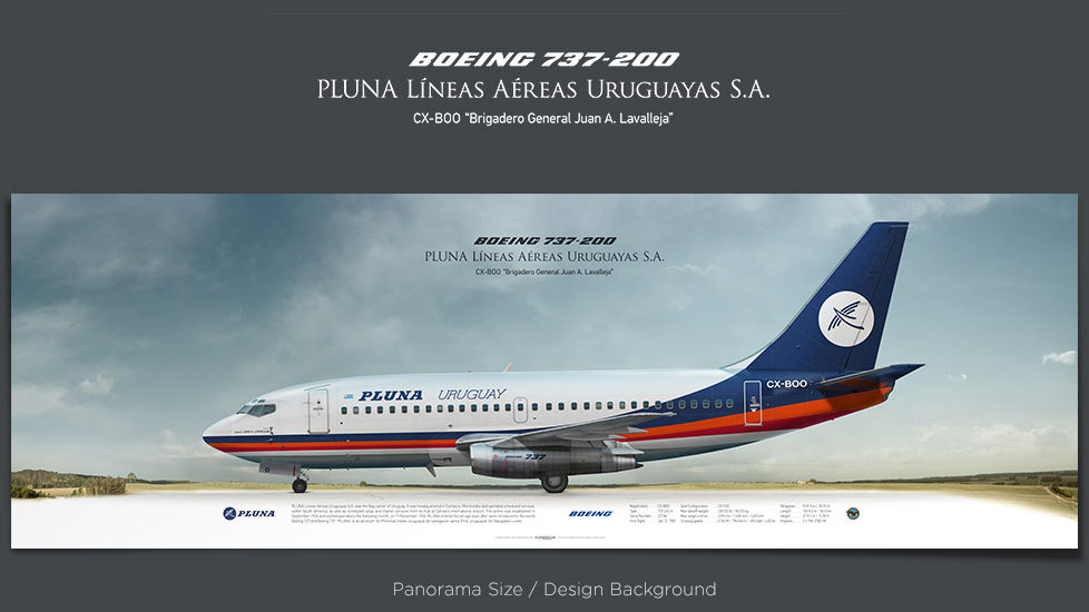 Boeing 737-200 PLUNA, plane prints, retired pilot gift, aviation posters, airliners prints, vintage aircraft, PUA