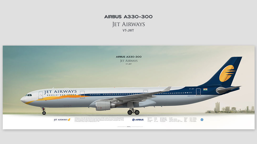 Airbus A330-300 Jet Airways, posterjetavia, profile prints, gift for pilots, aviation, airplane picture, airline