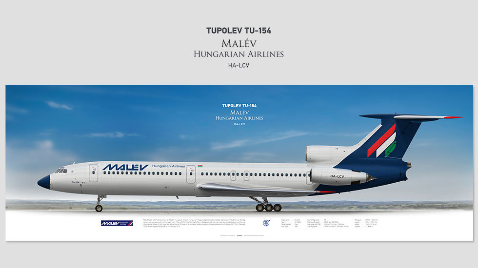 Malév Hungarian Airlines Tupolev Tu-154 HA-LCV