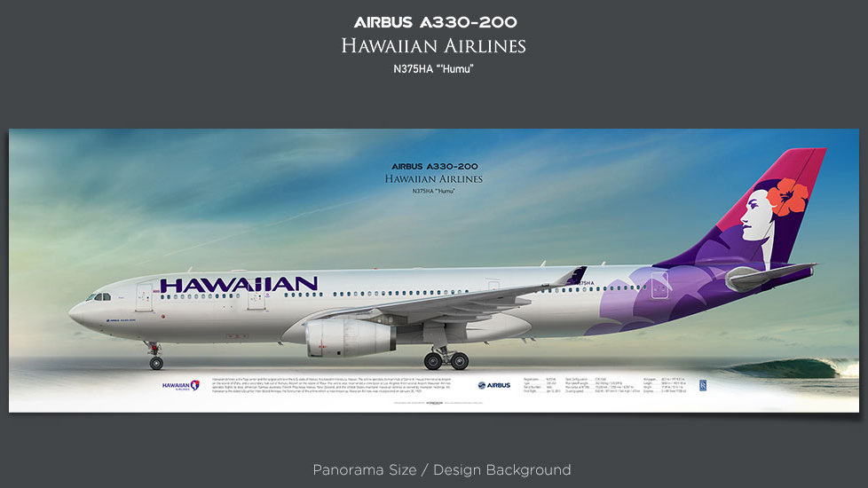 Airbus A330-200 Hawaiian Airlines, plane prints, retired pilot gift, aviation posters, airliners prints, civil aircraft