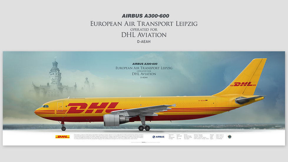 Airbus A300-600 EAT Leipzig, posterjetavia, gifts for pilots, aviation, aviation art, avgeek, airplane pictures, DHL, BCS
