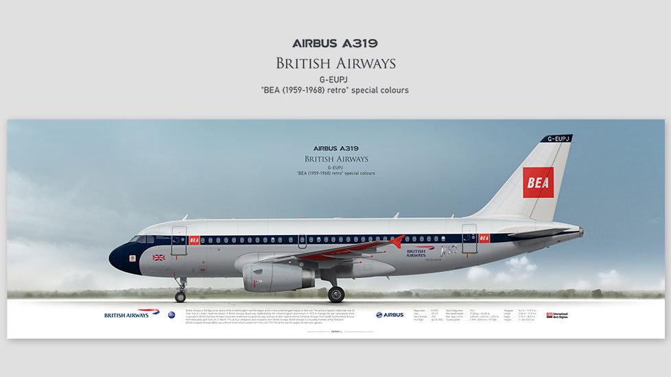 Airbus A319 British Airways, posterjetavia, profile prints, gift for pilots, aviation, BA100