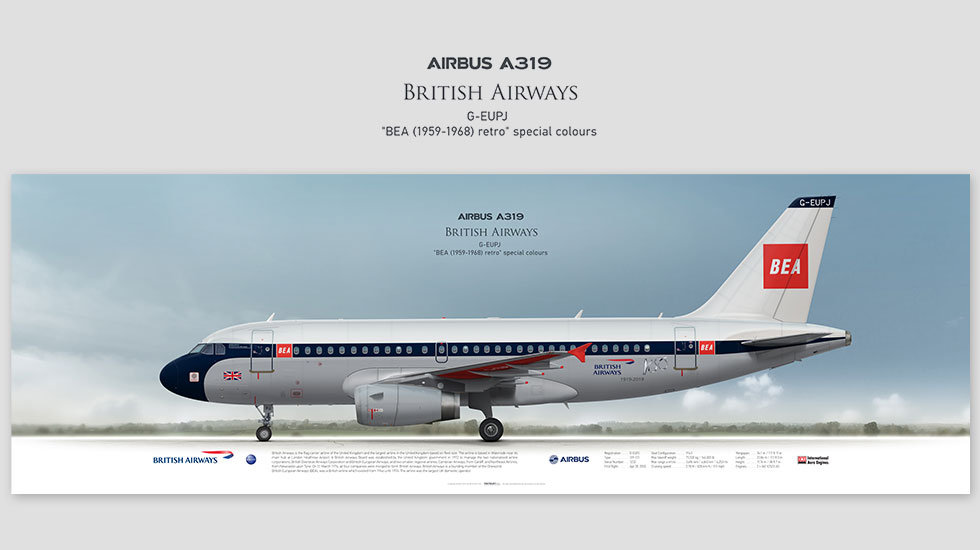 Airbus A319 British Airways, posterjetavia, profile prints, gift for pilots, aviation, BA100