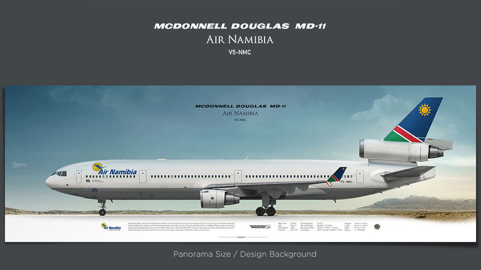 McDonnell Douglas MD-11 Air Namibia, gifts for pilots, aviation prints, aircraft posters, custom posters, retired pilot