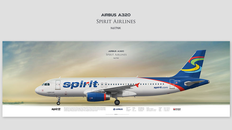 Airbus A320 Spirit Airlines, posterjetavia, airliners profile prints, gift for pilots