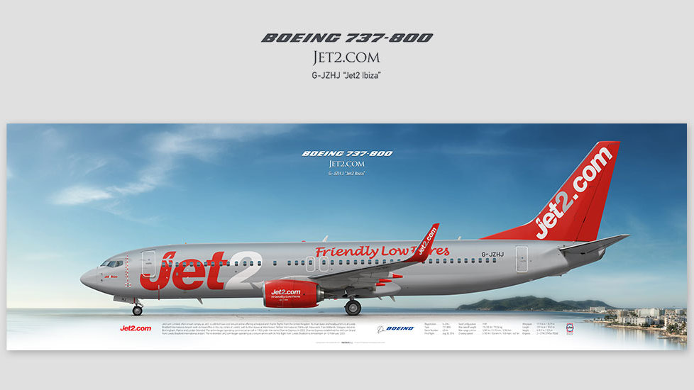 Boeing 737-800 Jet2.com, posterjetavia, gifts for pilots, aviation, aviation art, avgeek, airplane pictures, exs, airliner