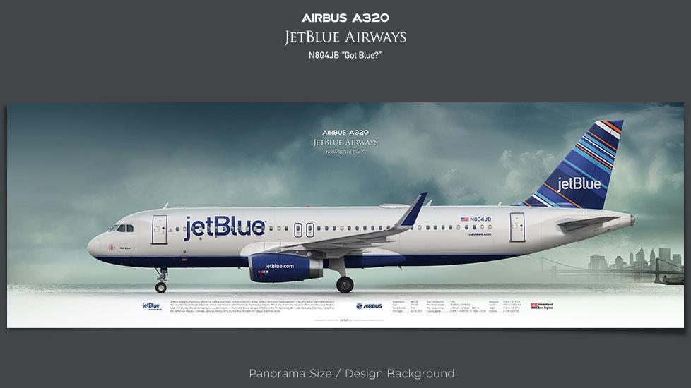 Airbus A320 JetBlue, JBU, plane prints, retired pilot gift, aviation posters, airliners prints, civil aircraft prints