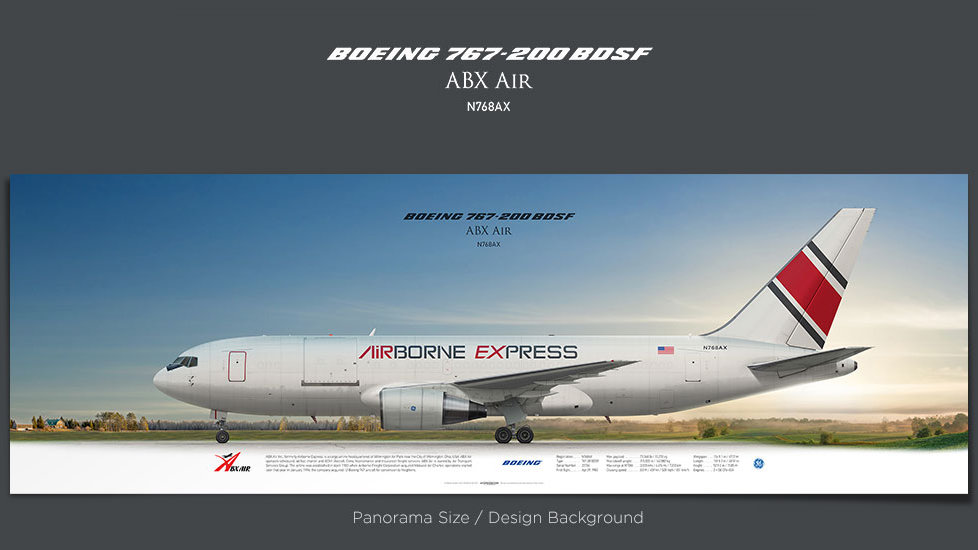 Boeing 767-200 BDSF ABX Air, plane prints, retired pilot gift, aviation posters for sale, cargo plane prints, airborne