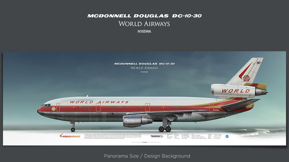 McDonnell Douglas DC-10World Airways, plane prints, retired pilot gift, aviation posters, airliners prints, vintage aircraft
