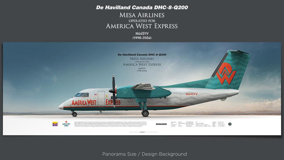 De Havilland Canada DHC-8-Q200 Dash 8 Mesa Airlines, America West Express, plane prints, retired pilot gift, aviation posters