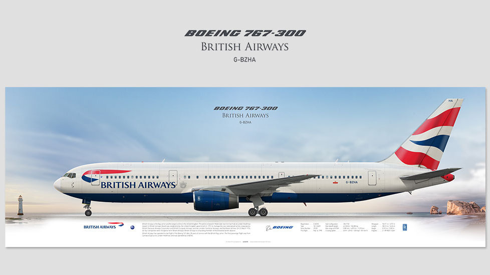 Boeing 767-300 British Airways, posterjetavia, airliners profile prints, aviation collectibles prints