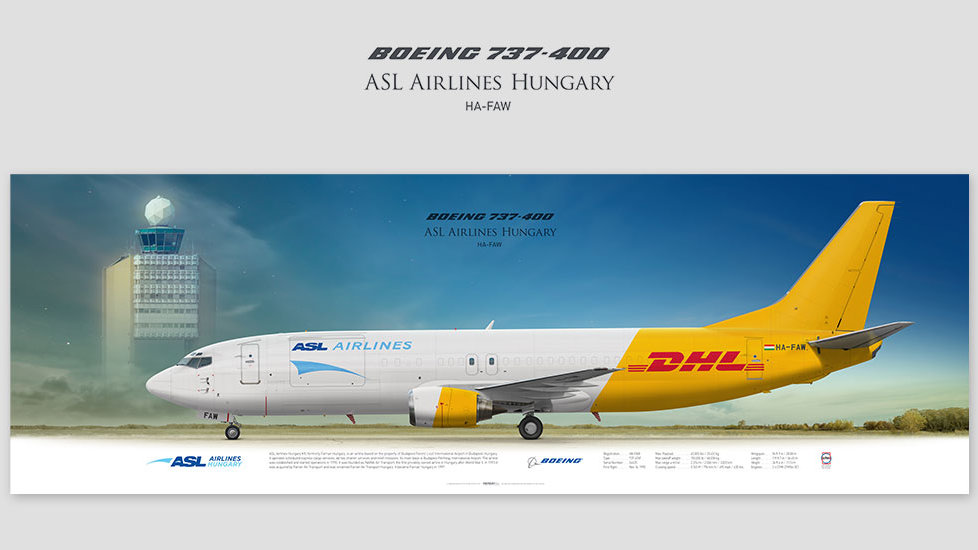 Boeing 737-400 ASL Airlines Hungary, posterjetavia, profile prints, gift for pilots, aviation, airplane picture, airline